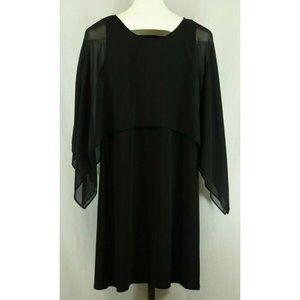 Glamour Ladies Black Sheer Bell Sleeve Dress Sz 6